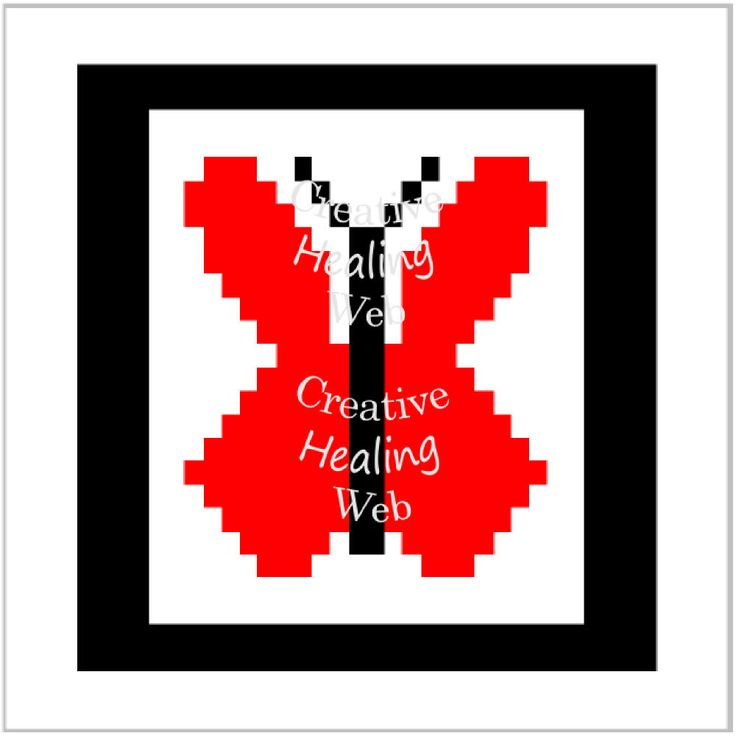Red Butterfly graph pattern to make knitted squares for a blanket. Knitting pattern by CreativeHealingWeb on Etsy