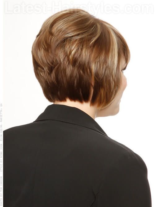 Short Stacked Bob Hairstyle With Layers Back View