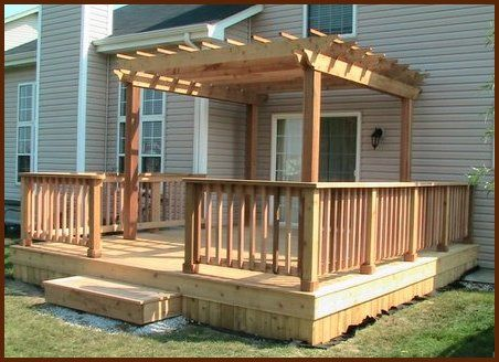 Decks pergolas and deck with pergola on pinterest for Small house deck designs