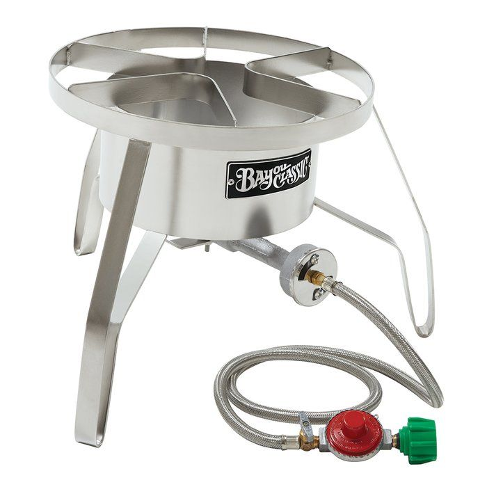 The Bayou Classic Burner is portable and versatile - perfect for backyard BBQs, tailgates, brewing beer, and camping. Bayou Classic Cookers are designed for strength, function and safety, while remaining the most efficient outdoor cookers sold. Bayou Classic continues to be the industry leader in outdoor cooking equipment such as turkey fryers, stainless steel stockpots, cast iron cookware, and aluminum stockpots.