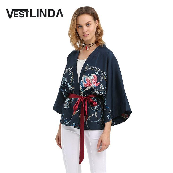 VESTLINDA Kimono Blouse Women Three Quarter Flare Sleeve Print V Neck Sashes Chiffon Cardigan Japan Style Casual Fashion Blouse