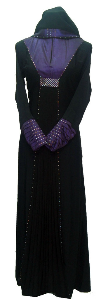 Beautiful purple khaleeji styled abaya set by the name of Nyasia in stock and ready to ship worldwide $80