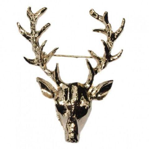 Golden Reindeer Stag Head Brooch