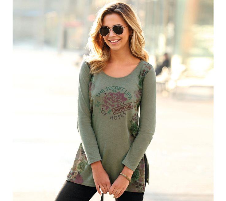 Dlouhé tričko s potiskem a hlubokými rozparky   modino.cz  #modino_cz #modino_style #style #fashion #newseason #autumn #fall