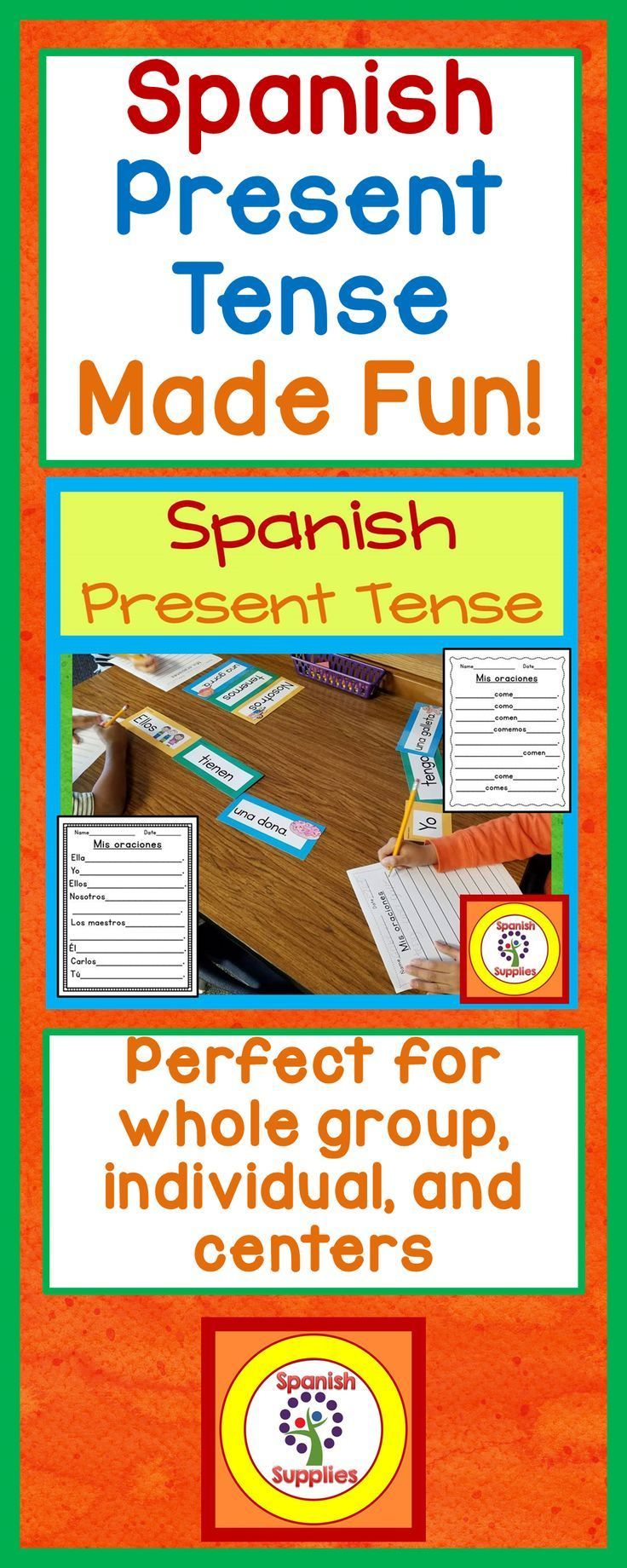 Present Spanish verb agreement activity. Perfect for TFL and dual language classrooms. For whole group, individual, and center work. Worksheets are included for extra practice and assessment.