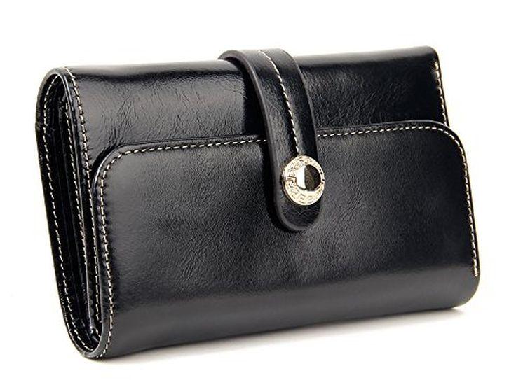 SUIMIUS Women's Genuine Leather Trifold Mini Wallet Retro Purse