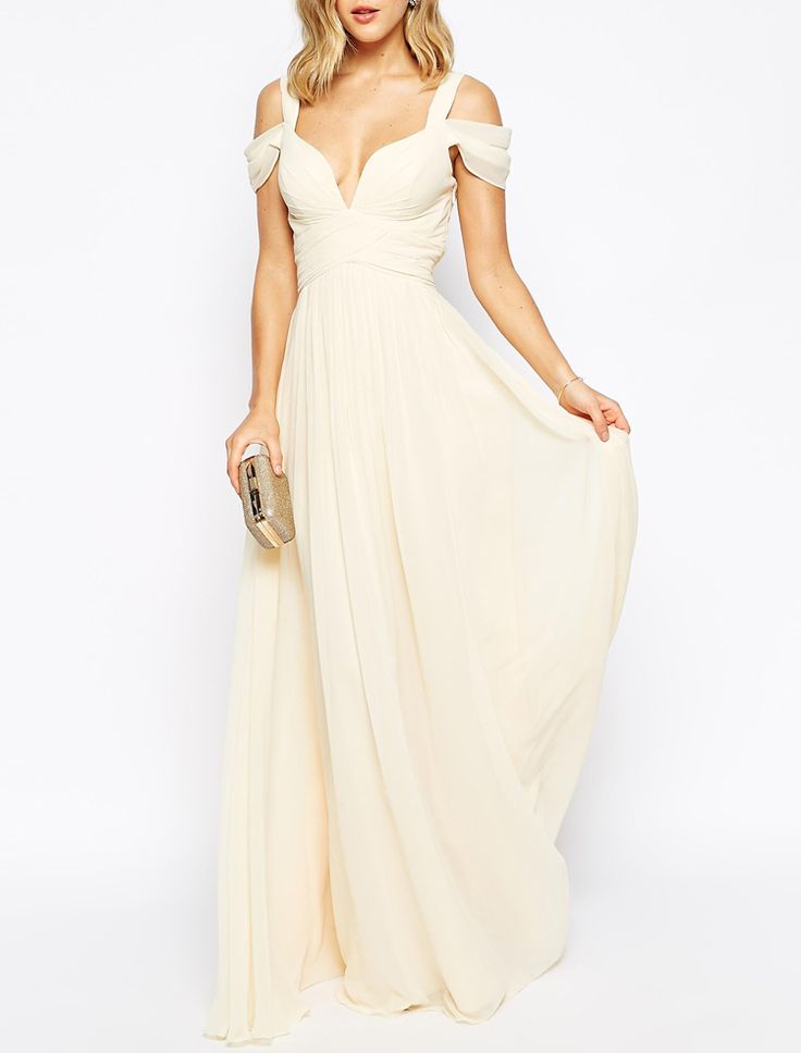 Beige Off The Shoulder Maxi Dress 27.99