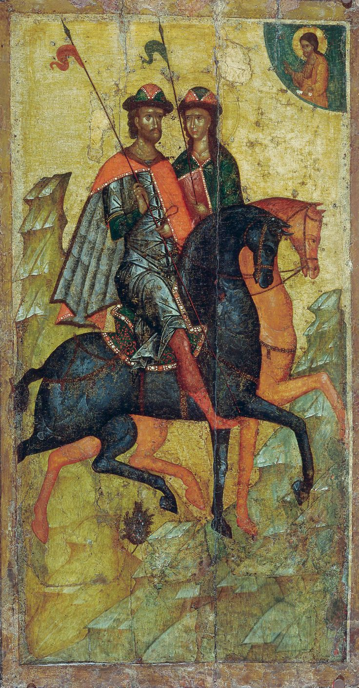 Princes Boris and Gleb on horseback, mid 14th centuryThis icon is considered as a masterpiece. Not only because of composition and plastics - the coloring is also unique. References to the icon can be found through all Russian art. We don't have a lot of examples of such an accurate depicting of the medieval Russian costume. Yes, the clothing is what I deeply love about this icon. (and the nice story of princes Boris&Gleb, first Russian saints, I'll tell you later - if you a...