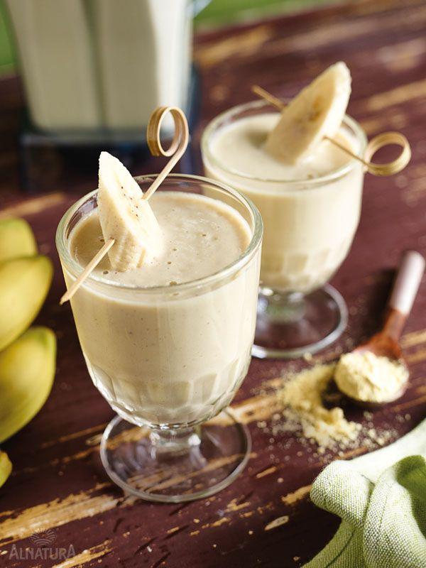 Mit Schwung in den Tag: Protein-Power-Smoothie mit #Süßlupinen-Mehl #Alnatura #Smoothie