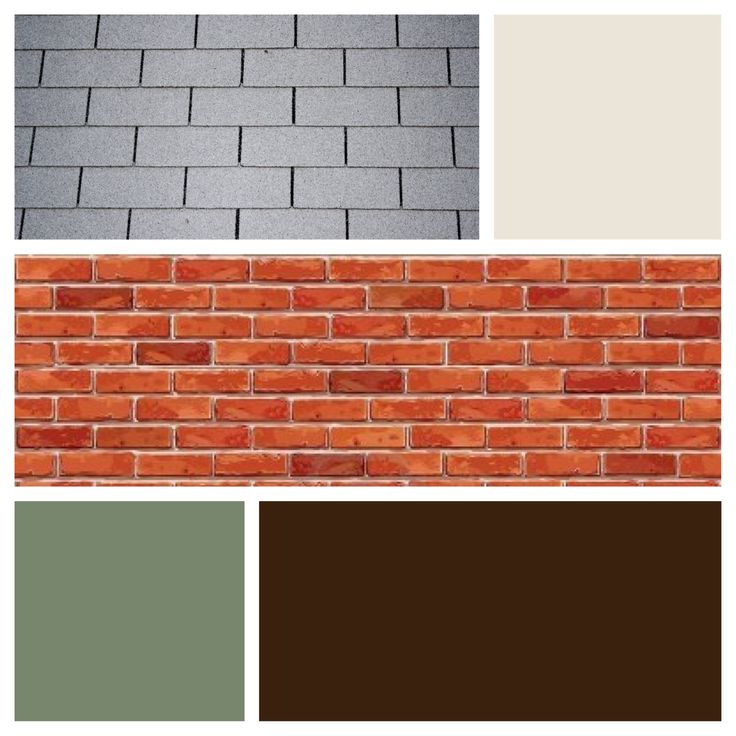 Exterior Color Scheme For Red Brick And Gray Roof Dark Brown Door Cream Si