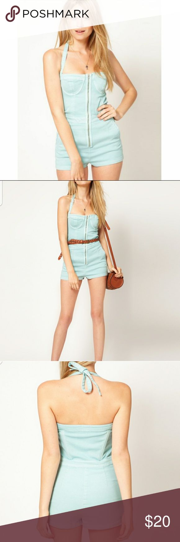 ASOS Denim Playsuit in Washed Turquoise Light Denim Blue Worn Once Condition: Unnoticeable Stain ASOS Pants Jumpsuits & Rompers