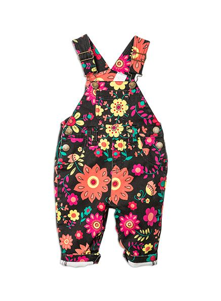 Pumpkin Patch -  - floral denim dungarees - W5CF90002 - orange peel - nb to s