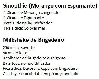 Smoothie (Drink) e Milkshake de Brigadeiro Retirado de Fernanda Magalhães Pinto (Youtube)