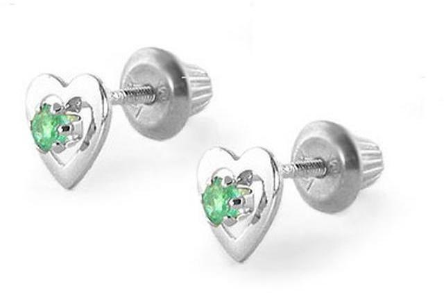 Ice Kids' 14K White Gold Emerald Heart Earrings For Girls