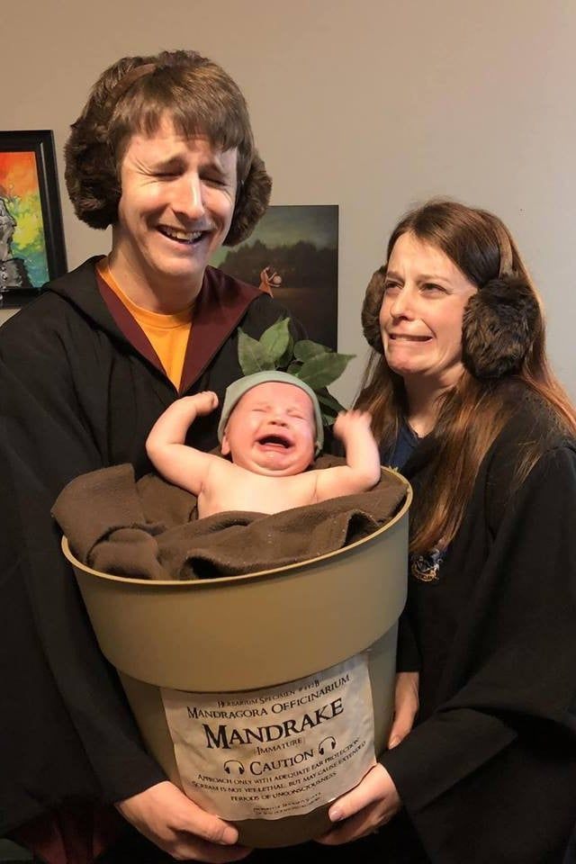 If You Don T Want To Fist Bump These Parents For Dressing Their Baby As A Mandrake You Re No Harry Potter Harry Potter Halloween Kostumvorschlage Humor Bilder
