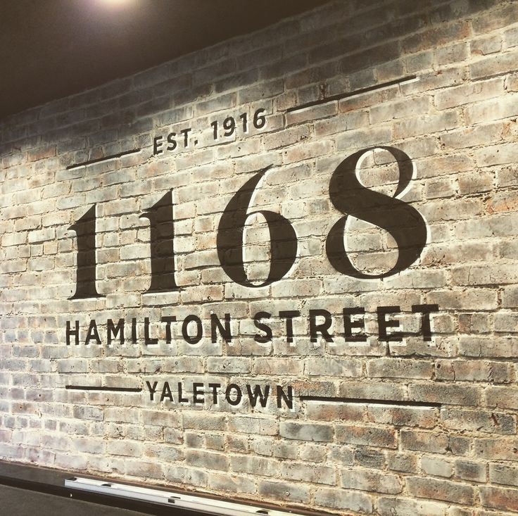 Painted sign on brick
