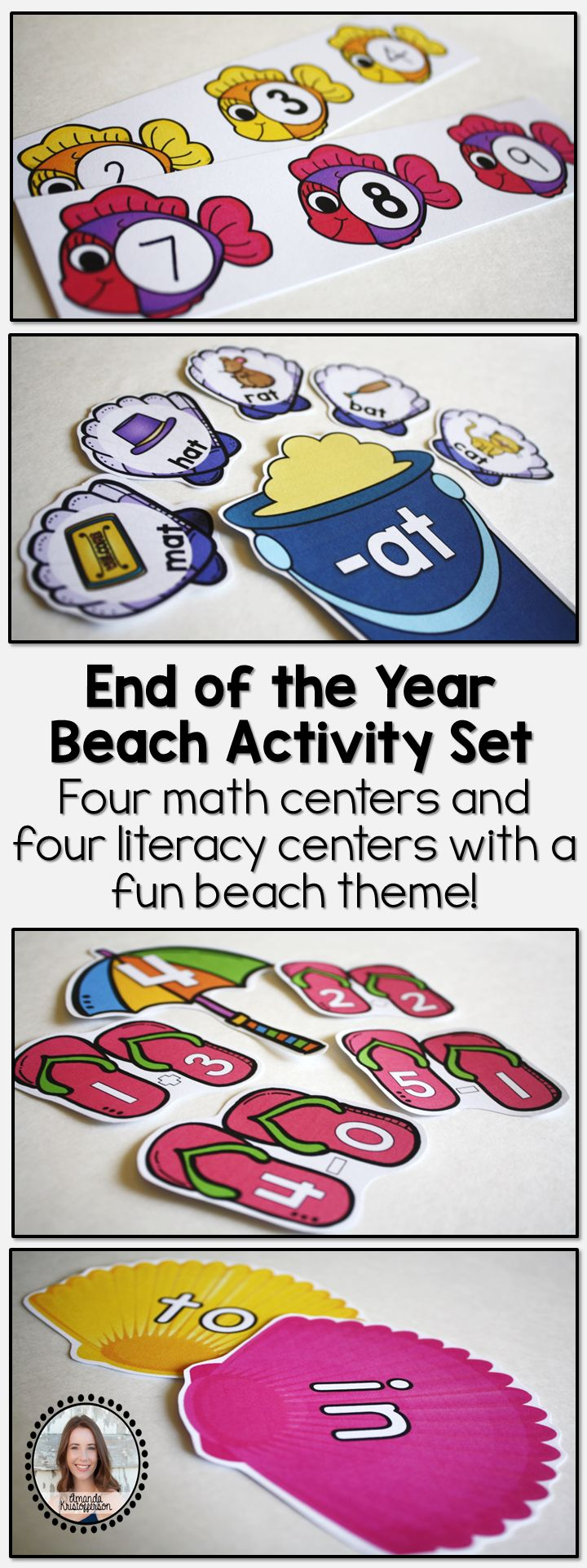 This set of math and literacy centers are perfect to use during your last months of school or during a beach unit! This product includes four math centers and four literacy centers. I find that four is the perfect number for independent centers so that the fifth can be a guided learning table with the teacher. Centers are fun, colorful, and engaging for students! Below is a description of each activity included within this bundle.