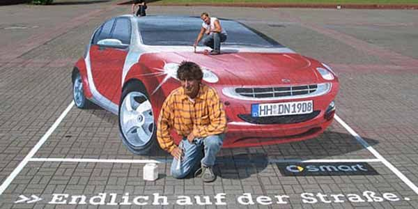 10 Pieces of 3D Automotive Street Art That Will Trip You Out - http://www.autosportsart.com/10-pieces-of-3d-automotive-street-art-that-will-trip-you-out - http://i.imgur.com/Tkl74ul.jpg