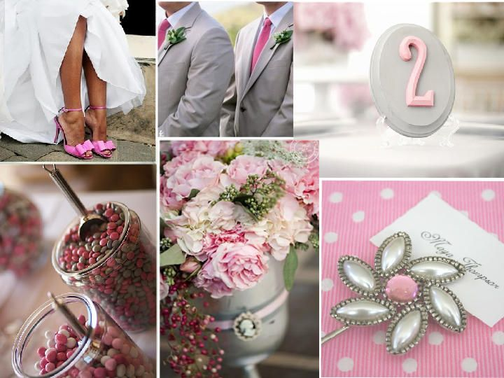 Gray/Pink : PANTONE WEDDING Styleboard : The Dessy Group