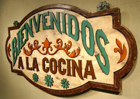 Bienvenidos Cocina Rustic Sign Vintage Sign Welcome Sign