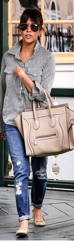Lined shirt, jeans, hand bag and sunglasses for casual dressing.. Click the pic for more #outfits