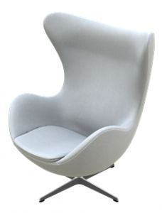 "The ""Egg"" armchair was designed by Arne Jacobsen in 1958 to be used in the lobby of Copenhagen's Royal Hotel. He sculpted it first in clay to find the shell's perfect shape, ensuring it would work in any setting. It's the modern-day version of a wing chair, offering privacy and comfort to its lucky occupant."