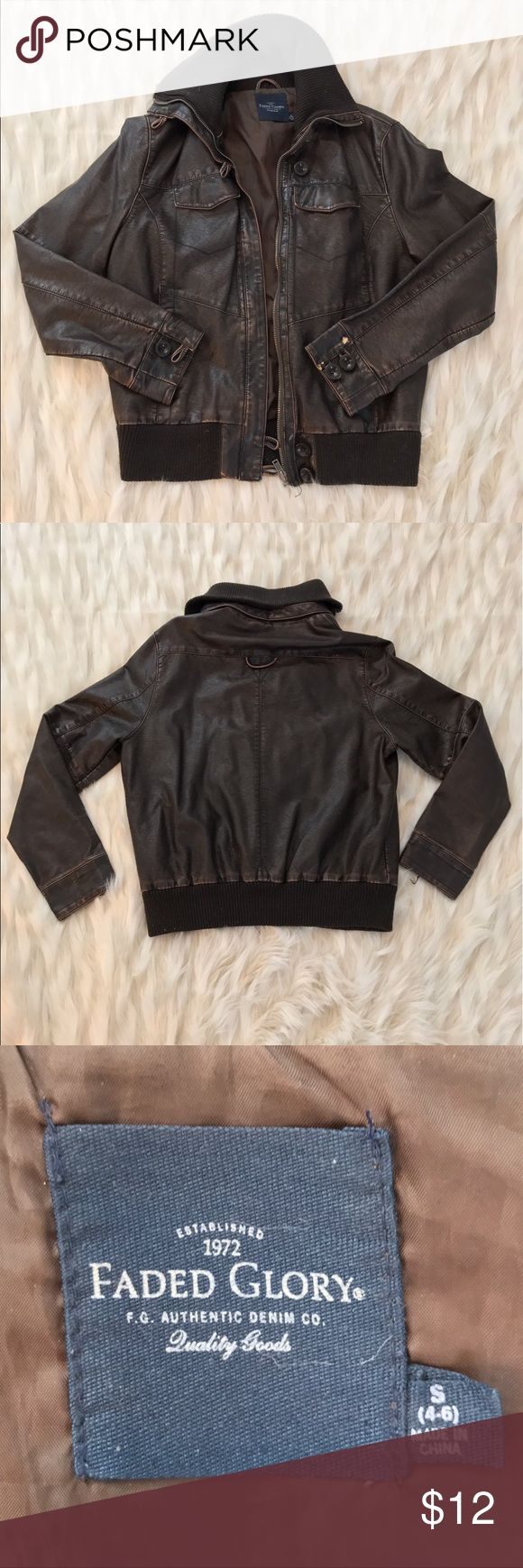 Distressed Brown Leather Bomber Jacket Distressed brown leather bomber jacket in good condition. One button missing on right sleeve. Men's size small. Faded Glory Jackets & Coats Bomber & Varsity
