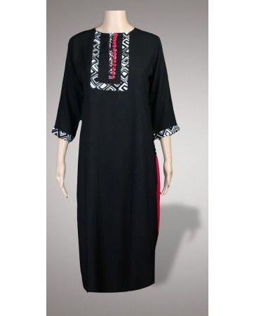 Pakistan Clothing Pakistani Casual Black Dresses in Linen For Winter in United Kingdom - Pakistani Clothing Latest 2013 Fashion