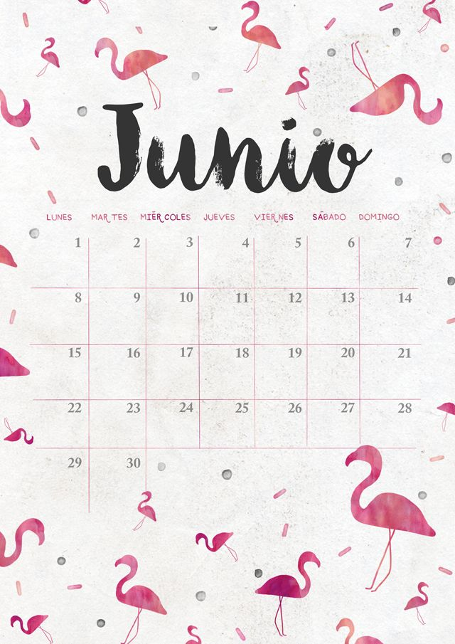 calendario de junio: imprimible y fondo