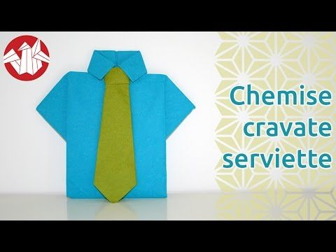 origami chemise et cravate en serviette shirt and tie napkin senbazuru youtube. Black Bedroom Furniture Sets. Home Design Ideas