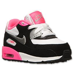 Girls' Toddler Nike Air Max 90 Running Shoes | Finish Line | White/Metallic Silver/Hyper Pink