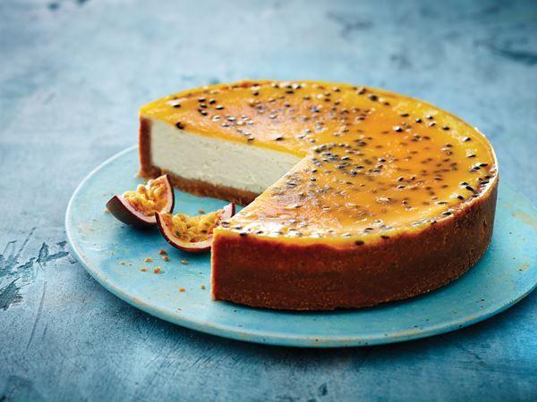 Bagt cheesecake med vanilje og passionfrugt