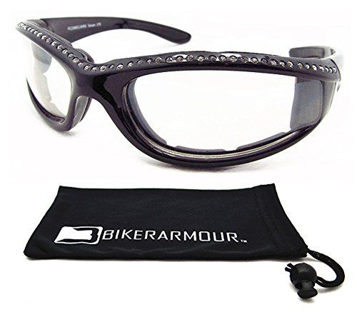 Rhinestone Motorcycle Glasses Foam Padded for Women. Clear Lense and Black Frames with Rhinestones.