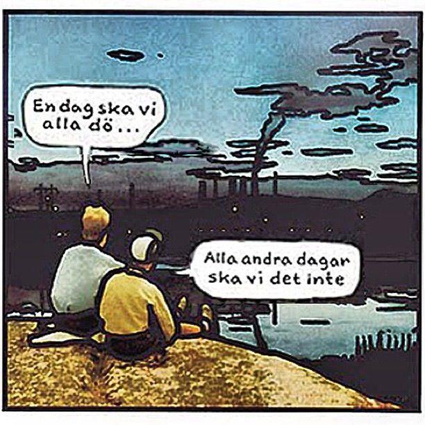 """#quote #swedish #life #wisdom """"en dag ska vi alla dö. alla andra dagar ska vi det inte"""" -Jan Stenmark"""
