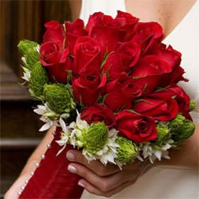 This beautiful and elegant bridal bouquet has 25 stems of Red Roses plus 16 stems of White Star of Bethlehem.