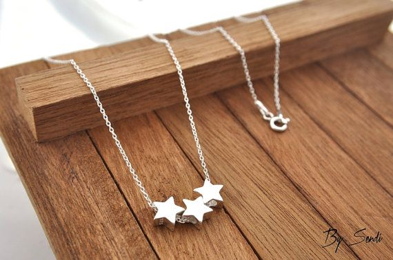 Sterling Silver three Star Necklace Star Charm Necklace Tiny
