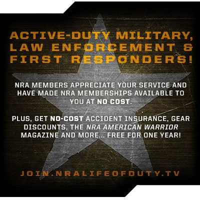 Our friends over at NRA Life of Duty wanted to share this with our community! NRA members have paid NRA memberships available for active-duty military, law enforcement and first responders – all they have to do it sign up. With the membership, they get all regular NRA membership benefits, $27,500