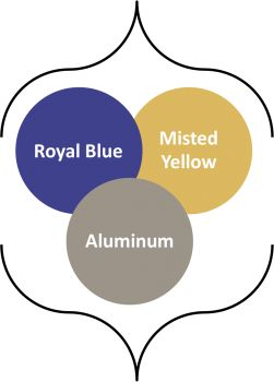 Combining Fall 2014 colors: royal blue, misted yellow, aluminum - I've got to keep that yellow tone away from my face.