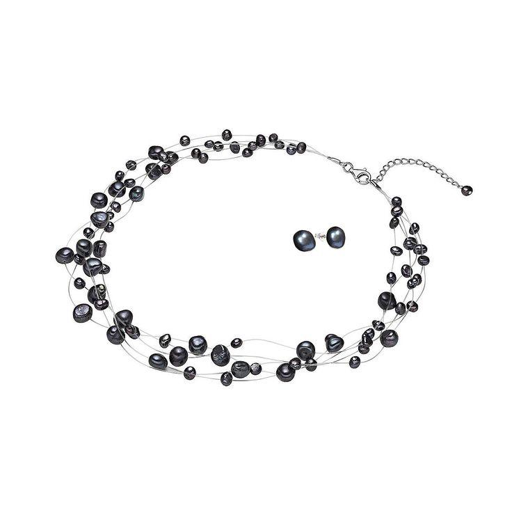 Set Valero Pearls și Sakura Pearl Picături de Rouă Indigo (cercei, colier multișir)