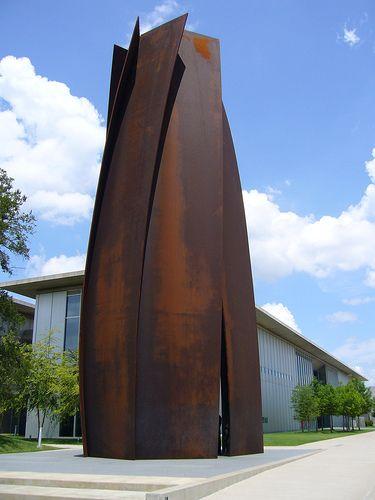a Richard Serra at Tadao Ando's Modern Art Museum of Fort Worth