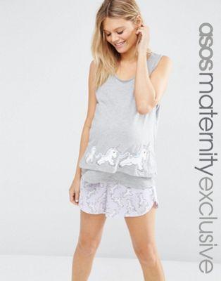 ASOS Maternity - Ensemble pyjama d'allaitement à motif licorne