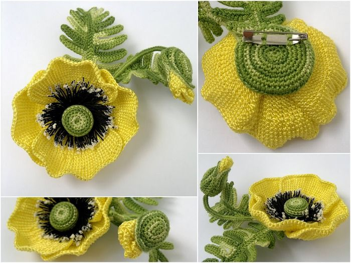 Yellow Poppy crochet pattern