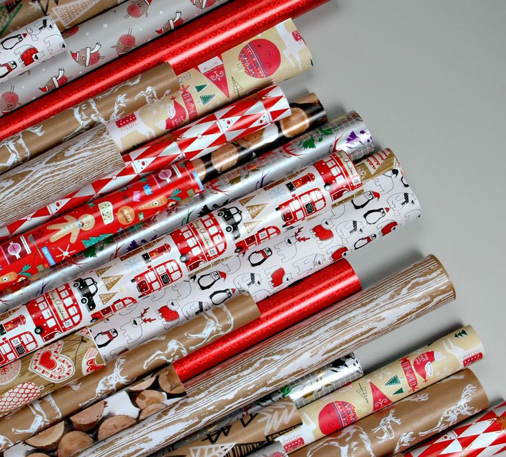 Bundles of red and neutral wrapping papers look so good together - Paperchase