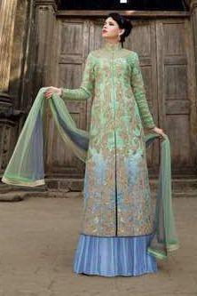 Silk Wedding Wear Anarkali Lehenga In Sea Green Colour