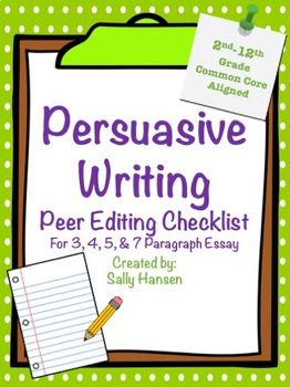 Persuasive Writing Peer Editing Checklist for Grades 2nd - 12th #Ccss #Writing #LanguageArts #Secondary  #Elementary #Education #PeerEdit #Tpt #PurposefulPlans