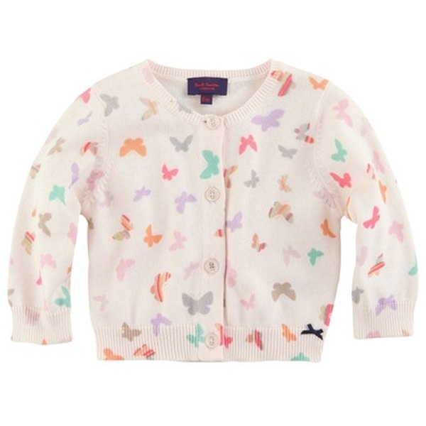 Strickjacke - PAUL SMITH JUNIOR - exklusive kindermode baby, mädchen    Light pink butterfly-printed cardigan made of soft knit. Crew neck and long sleeves.