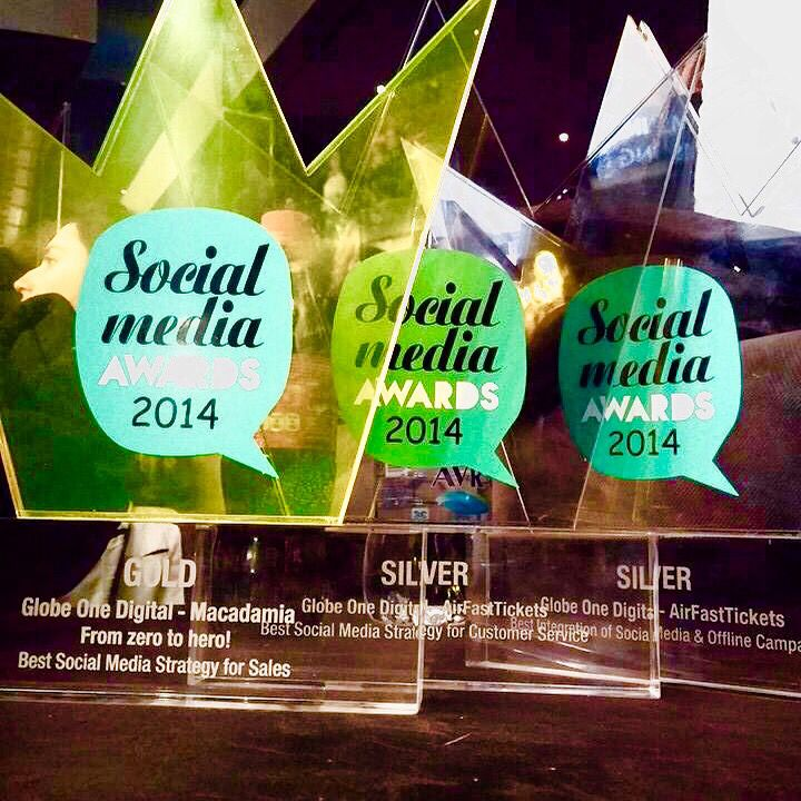 Social Media Awards 2014! Gold for Macadamia fashion and Double Silver for AirFastTickets