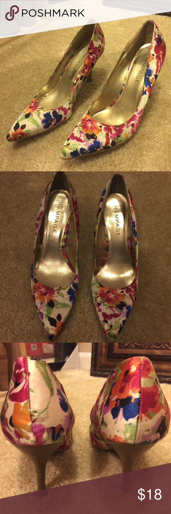 Rampage Floral Print Heels Size 10 Gorgeous shoes that can go with many outfits. Very pretty! Make an offer! Rampage Shoes Heels