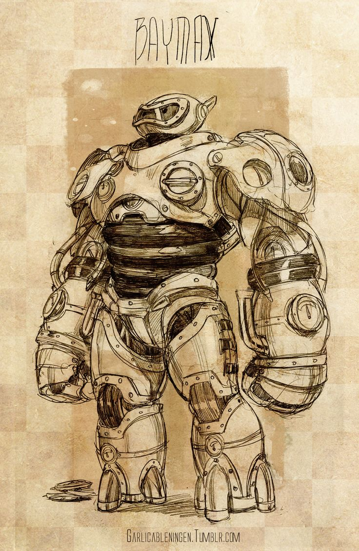 "Steampunk version of Baymax from ""Big Hero 6"" - Art by garlicableningen.tumblr.com"