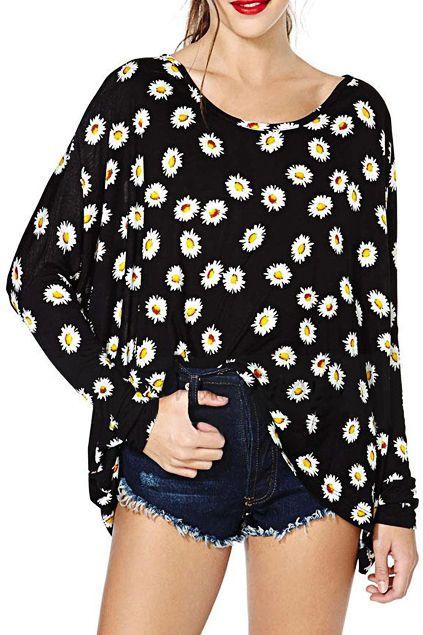 abaday Dasiy Print Long Sleeves Loose Black T-shirt - Fashion Clothing, Latest Street Fashion At Abaday.com